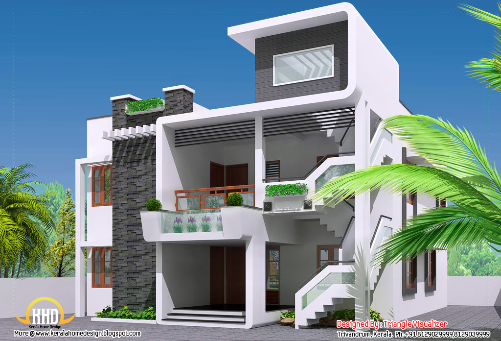 Elevation modern house good decorating ideas for Modern villa plans and elevations
