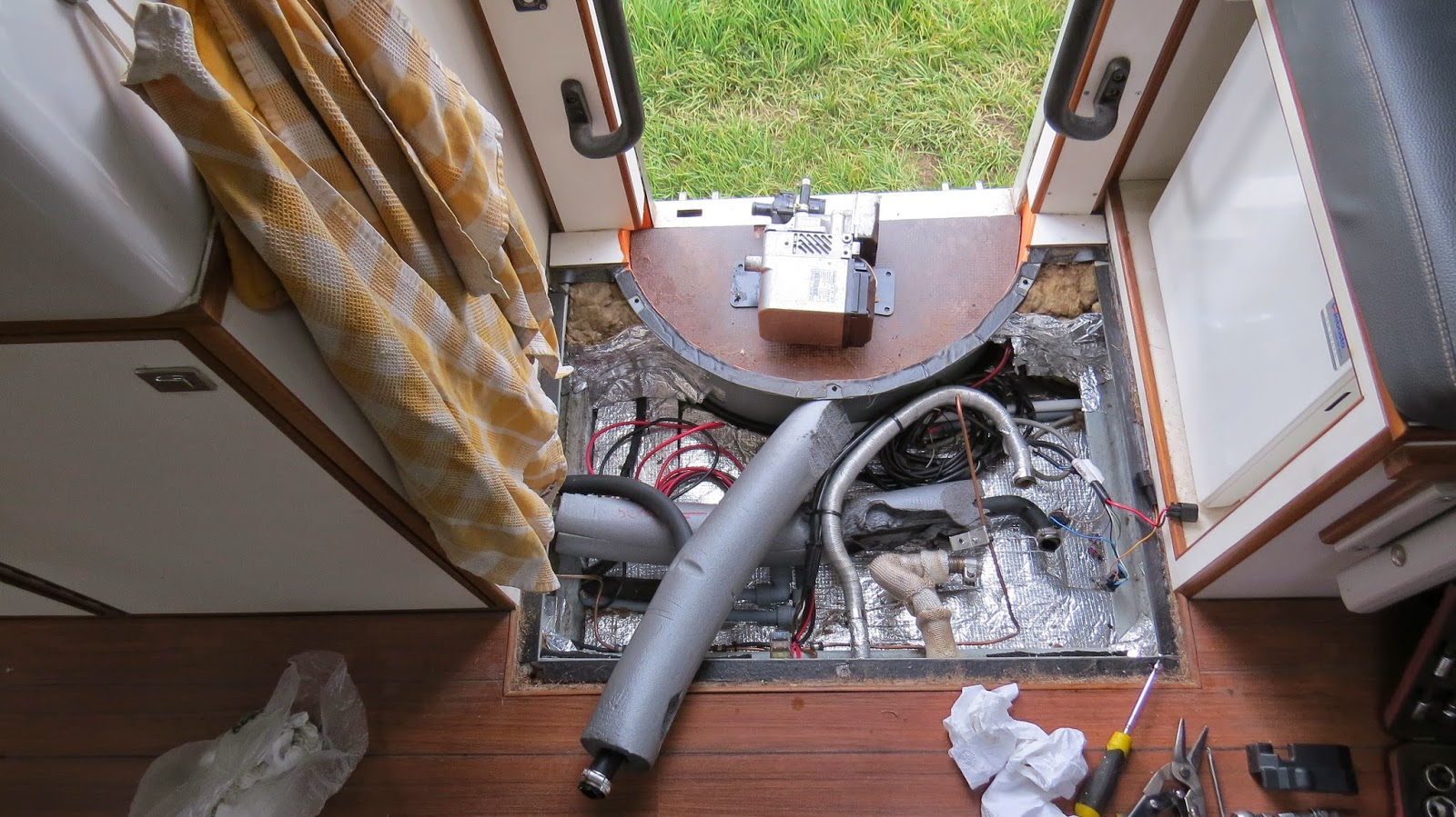The space left after removing the Webasto Thermo 50 from Jim the overland motorhome for a service