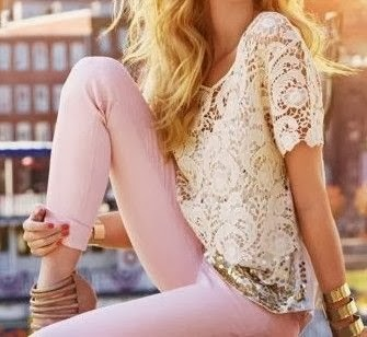 The Most Beautiful Pink Skinny Jeans And Lace Shirt