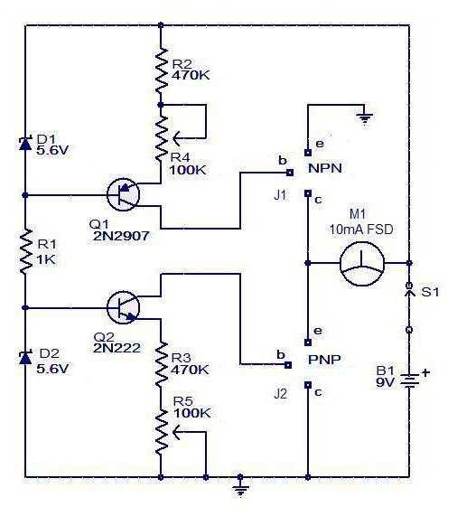 rangkaian testter transistor sederhana