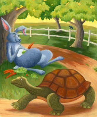 the tortoise and the hare A hare one day ridiculed the short feet and slow pace of the tortoise, who replied, laughing: though you be swift as the wind, i will beat you in a race.