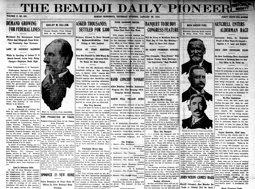 The front page of the Jan. 29, 1914, edition of the Bemidji Daily Pioneer.