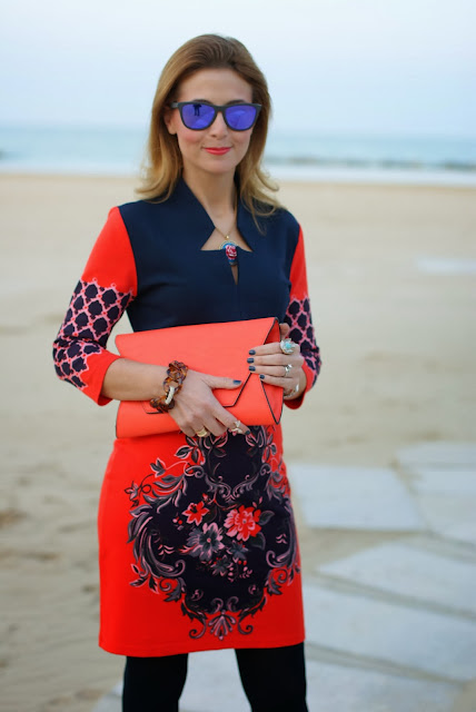 orange dress, vintage style print, oakley sunglasses, Dale Grey Vintage bracelet, Fashion and Cookies, fashion blogger
