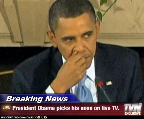 obama picking nose