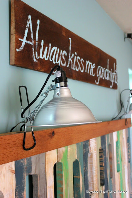 Always kiss me sign, bedroom decor, barn wood, hand lettered sign, http://bec4-beyondthepicketfence.blogspot.com/2015/05/always-kiss-me-sign.html