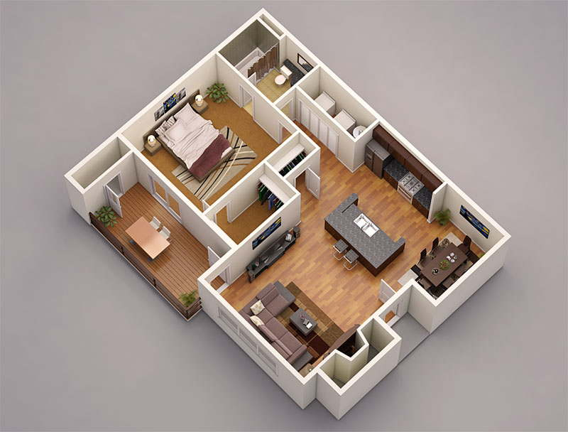 13 awesome 3d house plan ideas that give a stylish new for Bedroom designs 3d model
