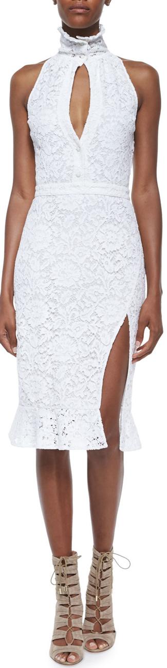 Altuzarra Lace Slit Ruffle-Collar Sheath Dress Natural