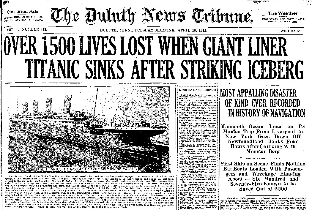 the account of events during the titanic tragedy of 1912 As the centennial of the titanic's sinking approaches, the ship has never been  bigger  late on the night of april 14, 1912, and three years after the death of   event seems increasingly swamped by the accounts of the event,.