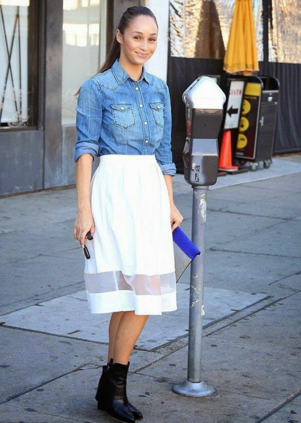 Cara Santana combined her top in jeans and a beauty white skirt at Los Angeles, CA, USA on Tuesday, January 6, 2015. . . . . . . .It seemed she has mastered to the trick.