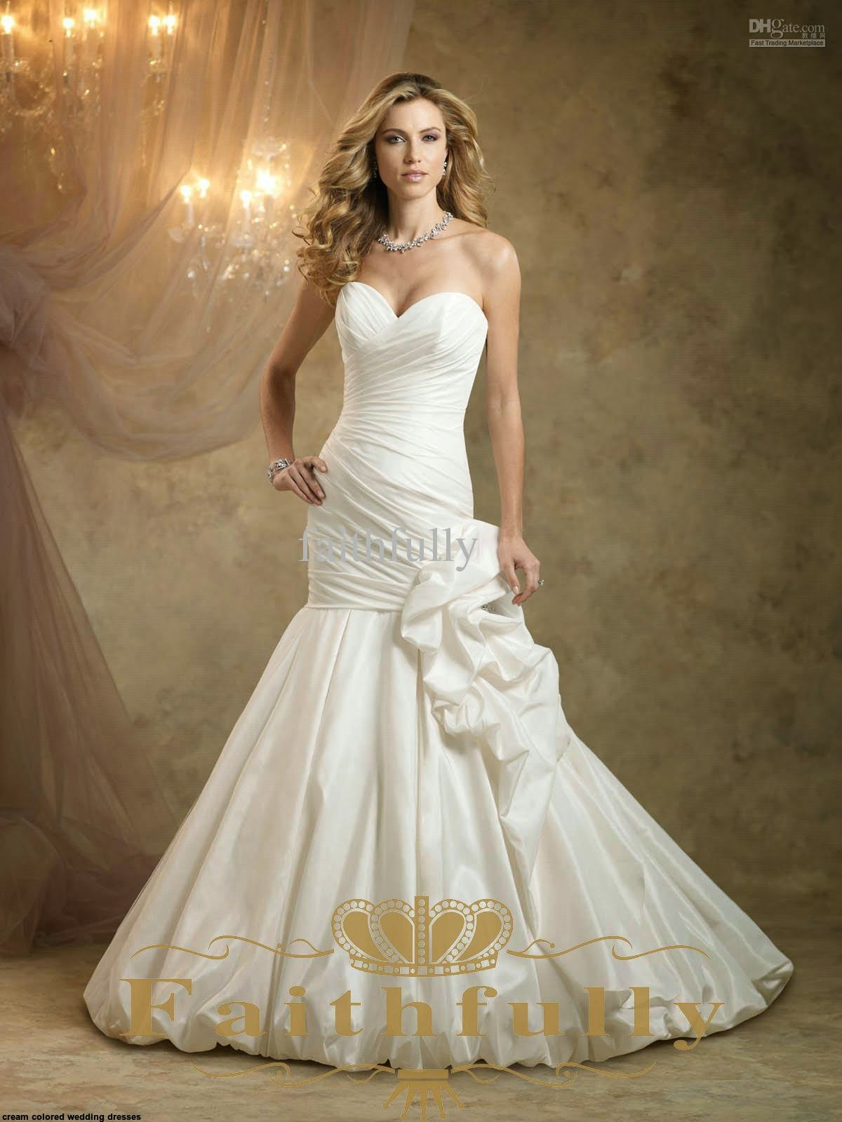 Tips for cream colored wedding dresses wedding dresses for Cream colored lace wedding dresses
