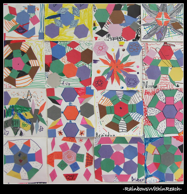 photo of: Kindergarten Group Collaborative Art Project using Quilt Squares in Preparation for Author Illustrator School Visit