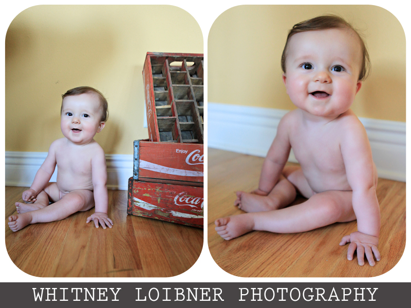 baby, brown hair, coca cola crate, coke crate