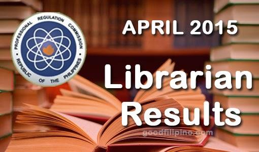 PRC: Librarians Board Exam Result 2015 (April)