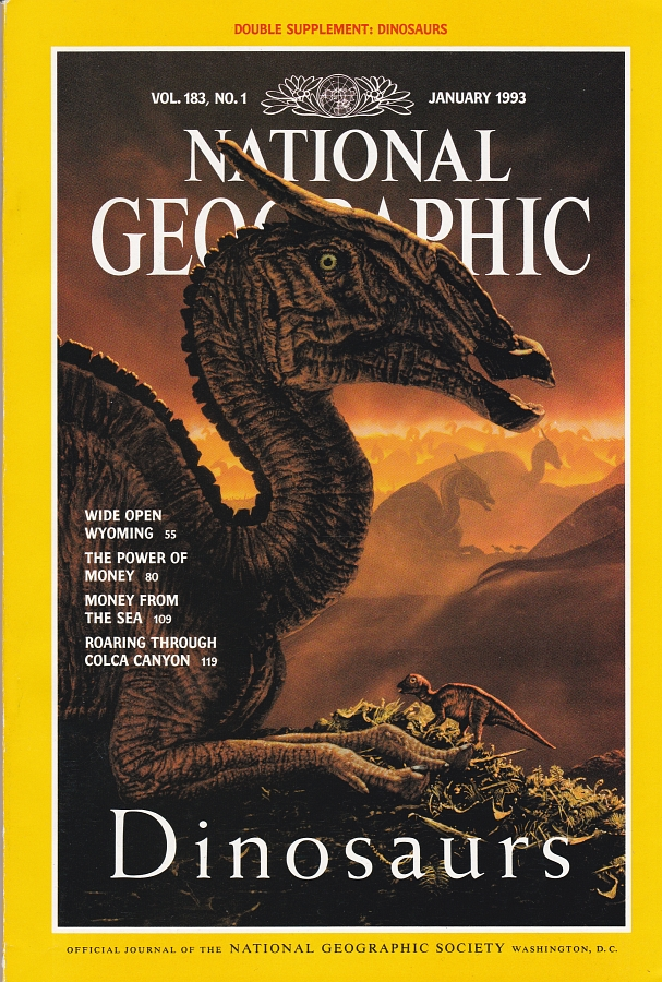 Vintage Dinosaur Art: Dinosaurs, National Geographic, January 1993