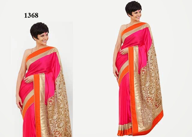 1368 - Mandira Bedi In Designer Dark Pink Saree