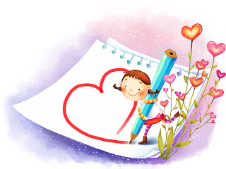 Girl Drawing Heart Love Wallpaper
