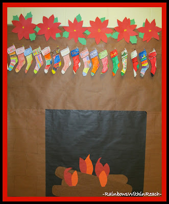 photo of: Yule Log Embers with Christmas Stockings (from Christmas Bulletin Board RoundUP at RainbowsWithinReach)