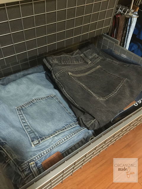 Jeans folded in thirds laying in drawer :: OrganizingMadeFun.com