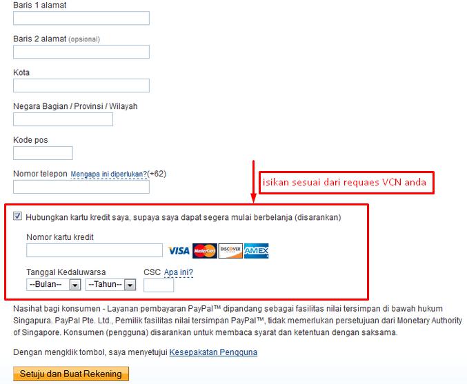 verifikasi paypal dengan vcn bni