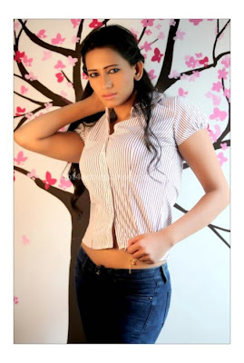 Sanjana Singh in Tight Shirt Hot  Photos
