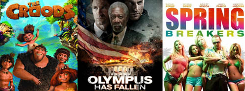 In Theaters: The Croods, Olympus has Fallen, Spring Breakers