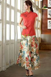 Cotton Linen Long Flare Skirts