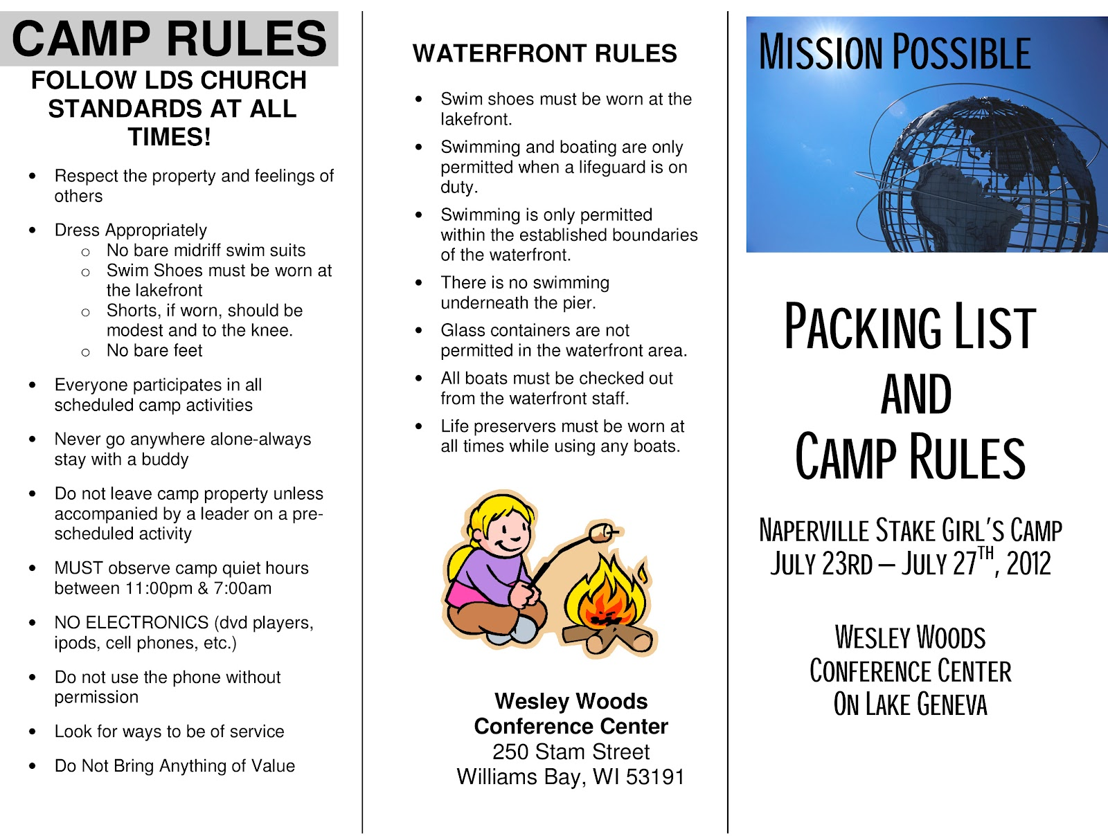 RULES PACKING LIST CAMP
