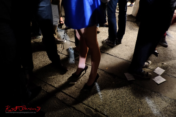 Blue dress legs and shoes, Art Month Sydney art party Darlinghurst Sydney 2013