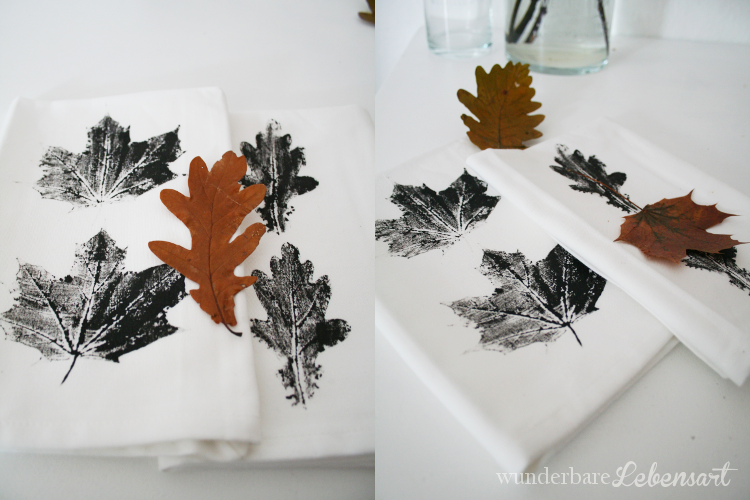 DIY Servietten mit Blätter bedrucken individuelle Servietten