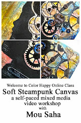 Soft Steampunk Mixed Media Collage on Canvas, A Color Happy Online Workshop