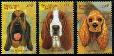 年度不明トーゴ共和国 セントヒューバート・ジュラ・ハウンド、バセット・ハウンド、コッカー・スパニエルの切手