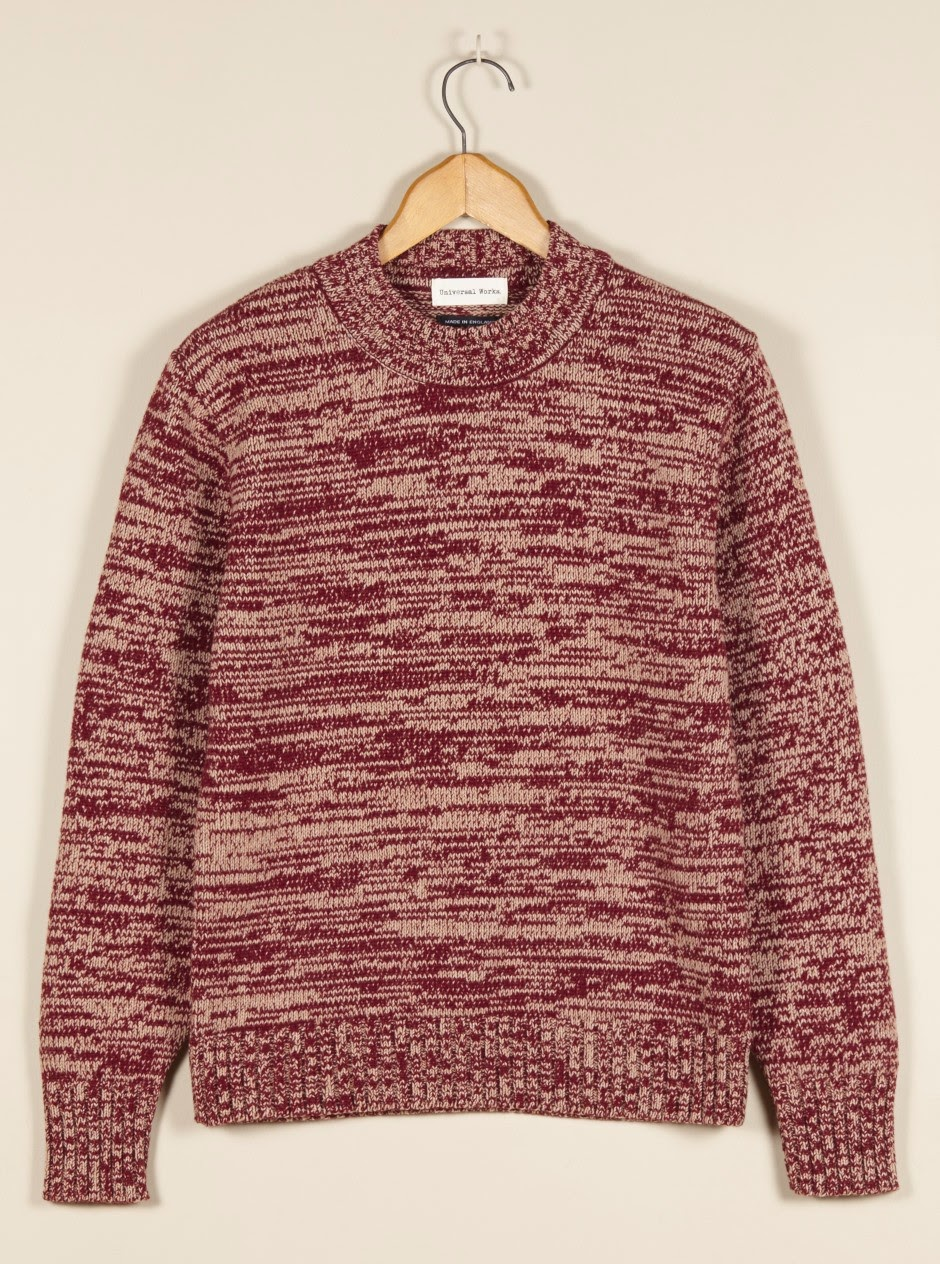 Universal Works  Sweaters Marled Red Wool British Menswear
