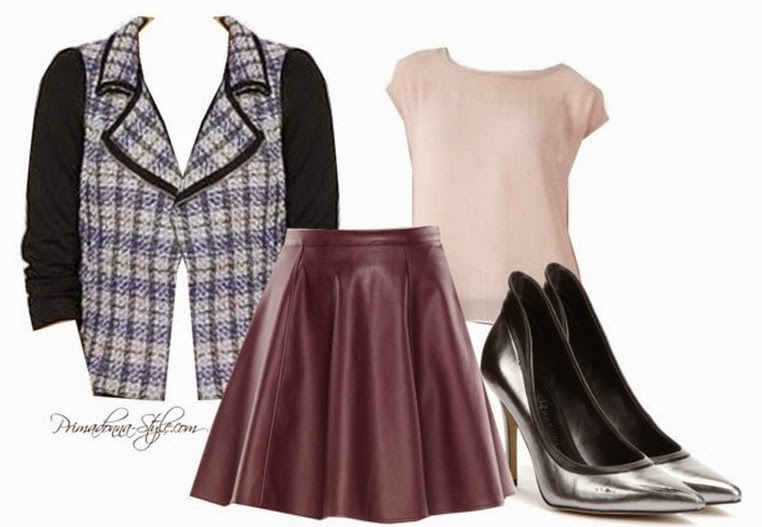 Tinley Road Blue/Black Tweed Moto Jacket Love & Hait Hi-Low Blush Top Lauren Conrad Faux Leather Circle Skirt in Wine Tasting Rock & Republic Heels