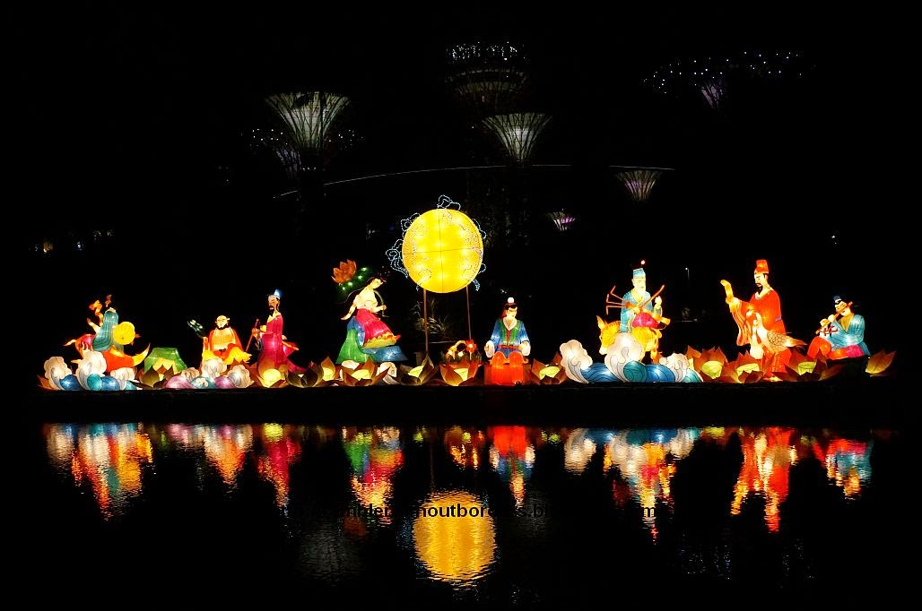 Lantern display of Chinese Eight Immortals Crossing the sea, Gardens by the Bay, Singapore, for the Mid-Autumn Festival 2014