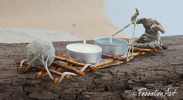 Porta candele in corda, sabbia e gommalacca