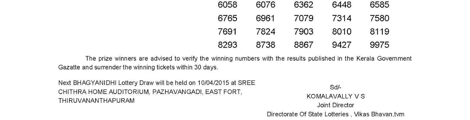 BHAGYANIDHI Lottery BN 182 Result 3-4-2015