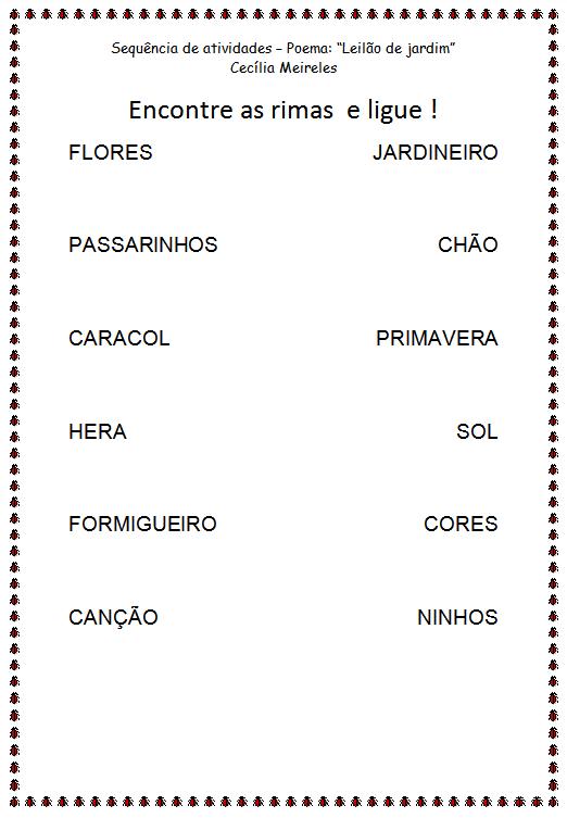 """rosas no jardim poema : rosas no jardim poema: de alfabetização – Poema """"Leilão de Jardim"""" de Cecília Meireles"""
