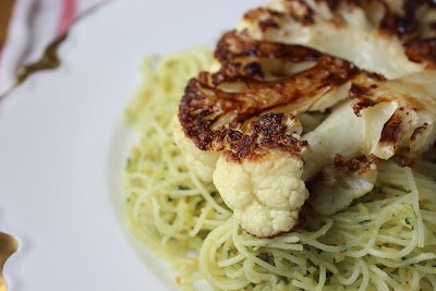 Cauliflower steak with marcona lemon pesto
