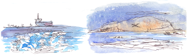 """Shiho Nakaza """"Los Angeles"""" Catalina sketching watercolor pen ocean"""