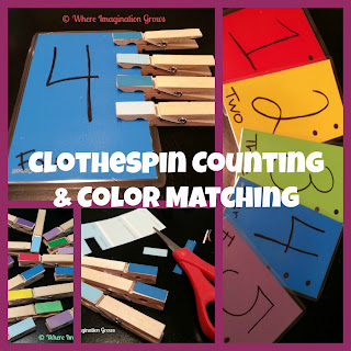 clothespin paint sample color counting activity