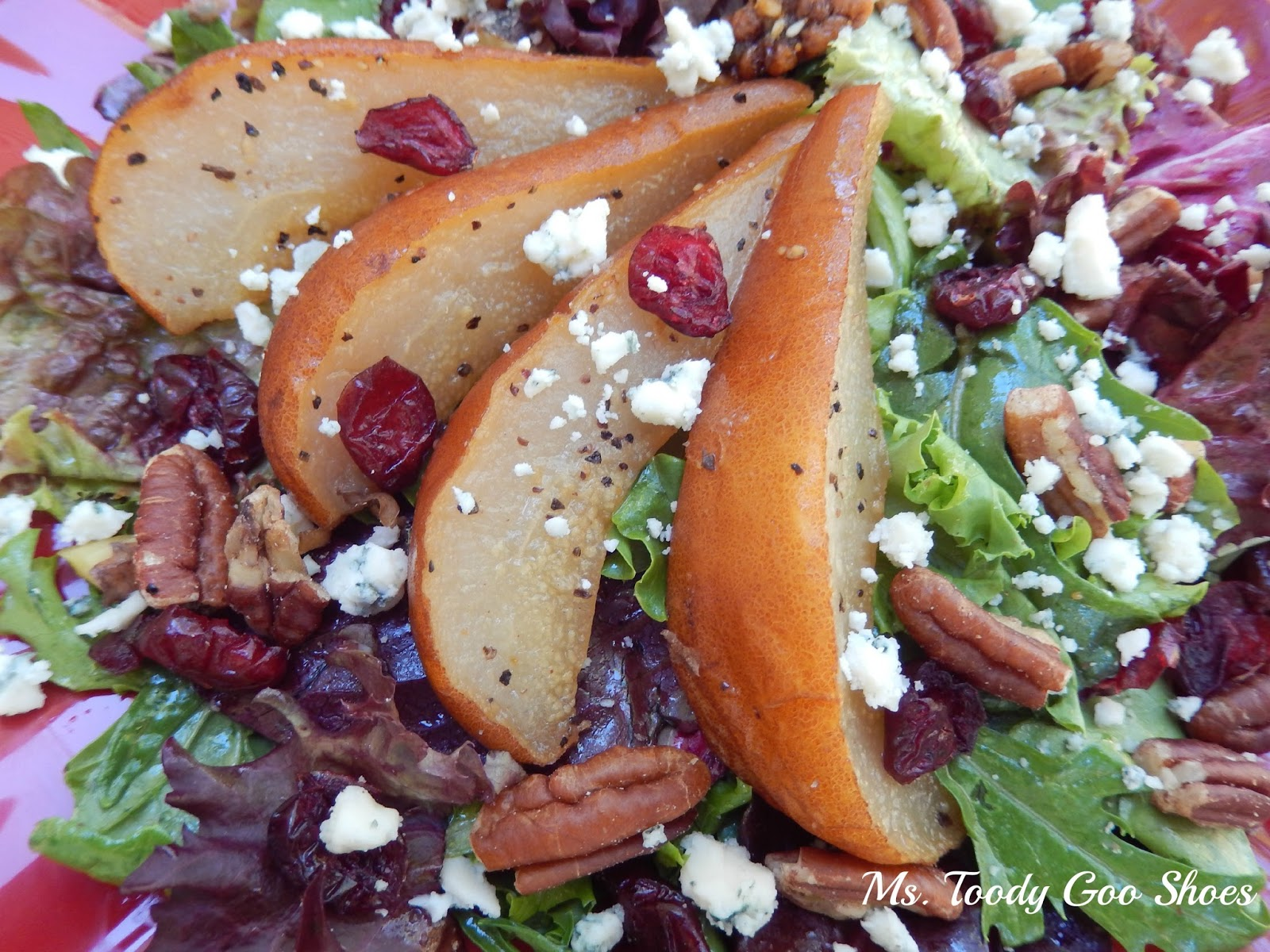 Roasted Pear Salad with White Balsamic Vinaigrette by Ms. Toody Goo Shoes
