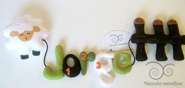 Nombre decorativo de fieltro para bebé