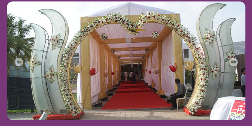 A wedding planner indian wedding hall and mandap entrance for Wedding hall decoration photos