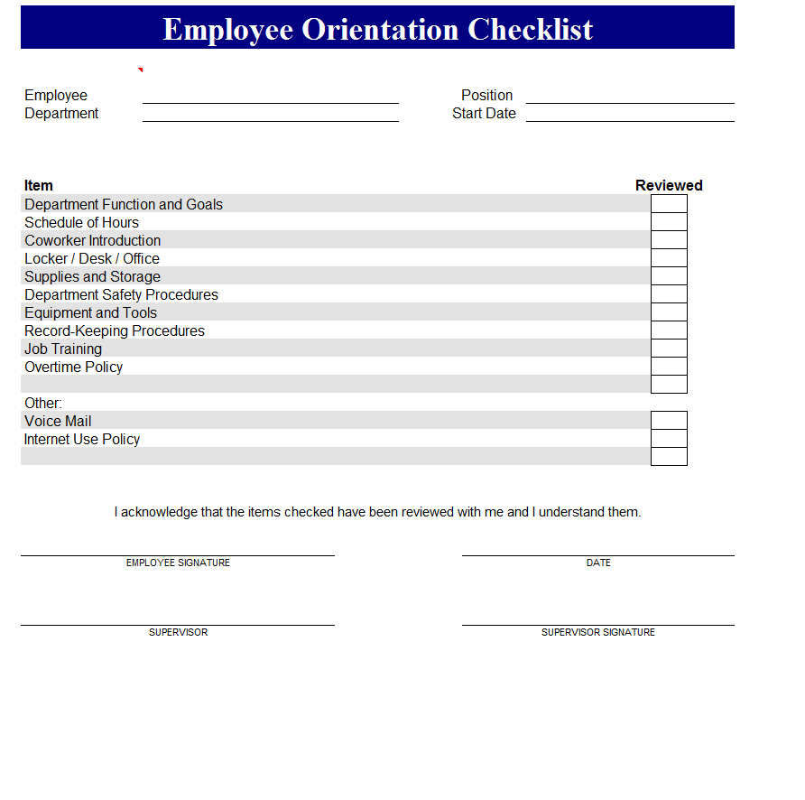 sample new employee orientation