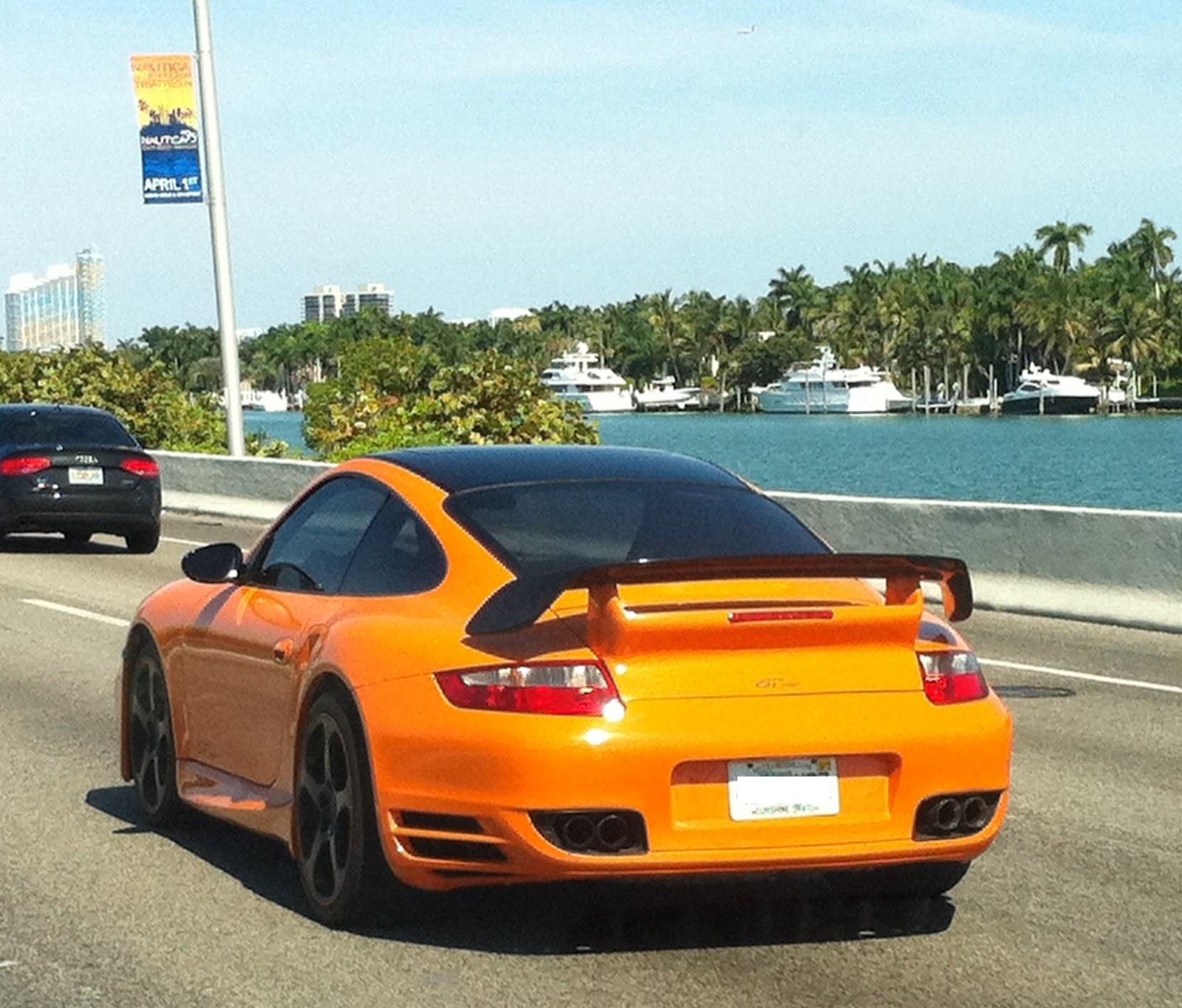 orange porsche 911 gt on miami beach. Black Bedroom Furniture Sets. Home Design Ideas