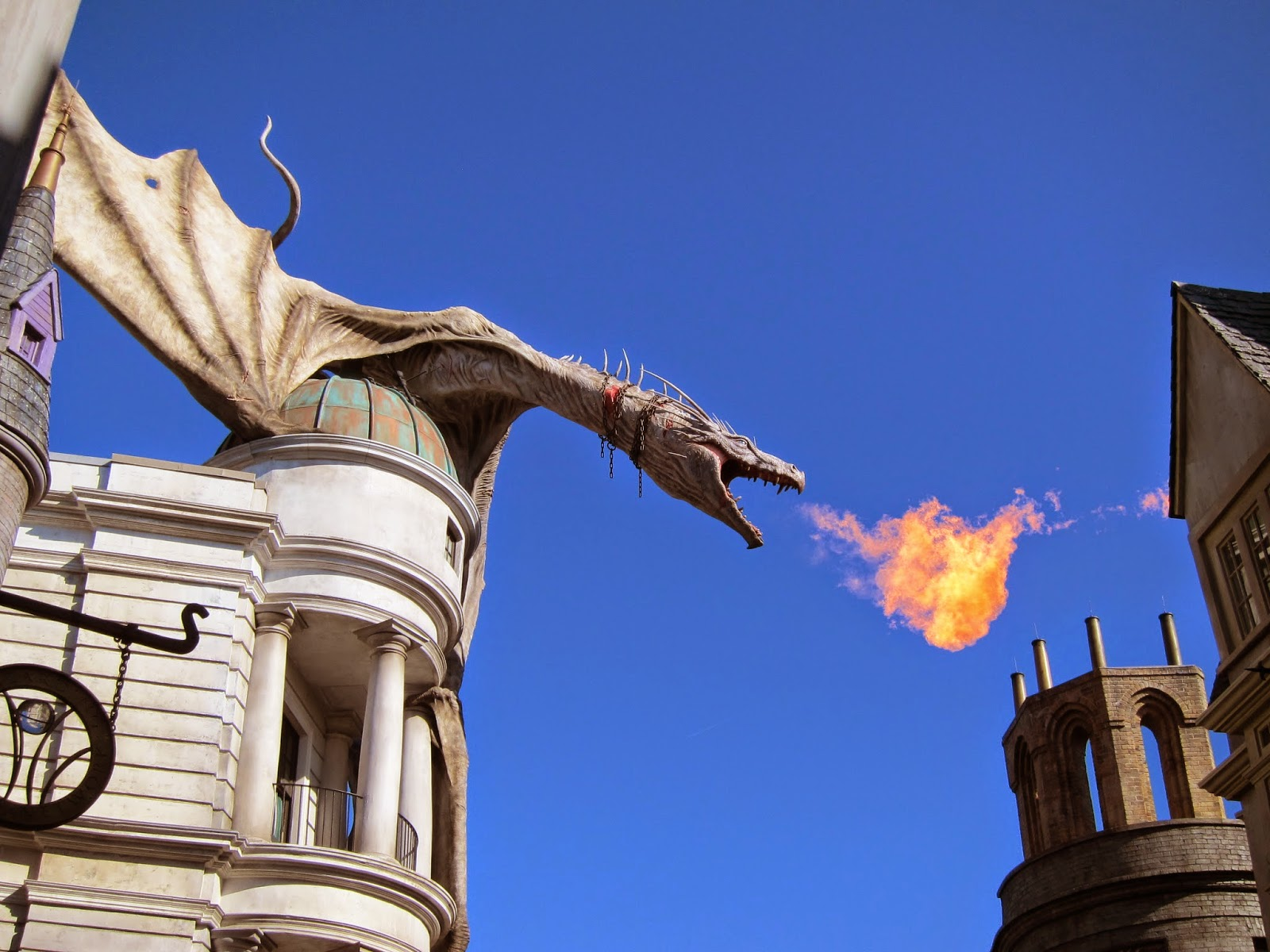 The dragon on top of Gringotts breathing fire!