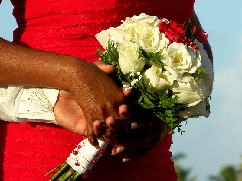 Brides red and white rose bouquet