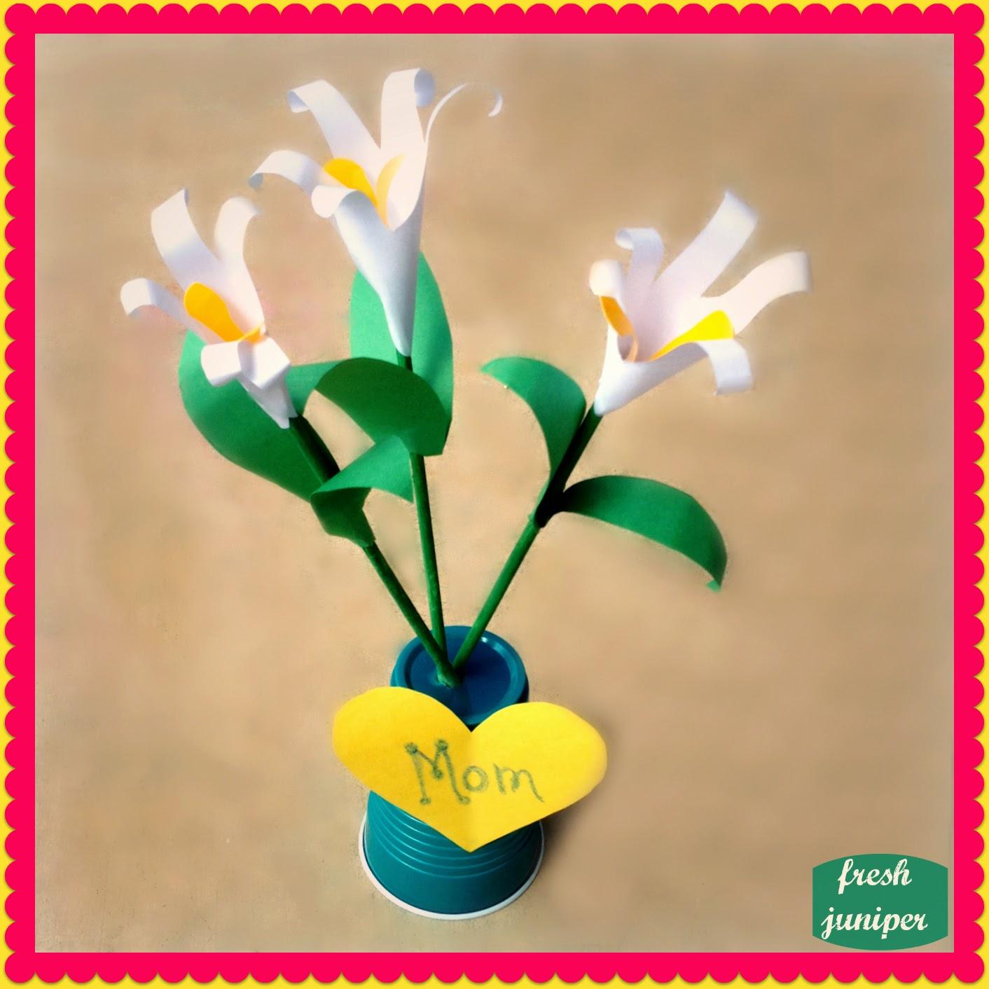 Fresh Juniper Diy Mothers Day Flowers Handprint Paper Lily Tutorial