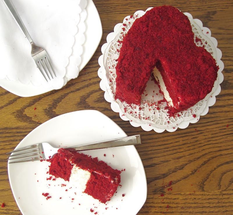 Heart Shaped Red Cake Images : Red Velvet Cheesecake Layer Cake (Made in a DIY disposable ...