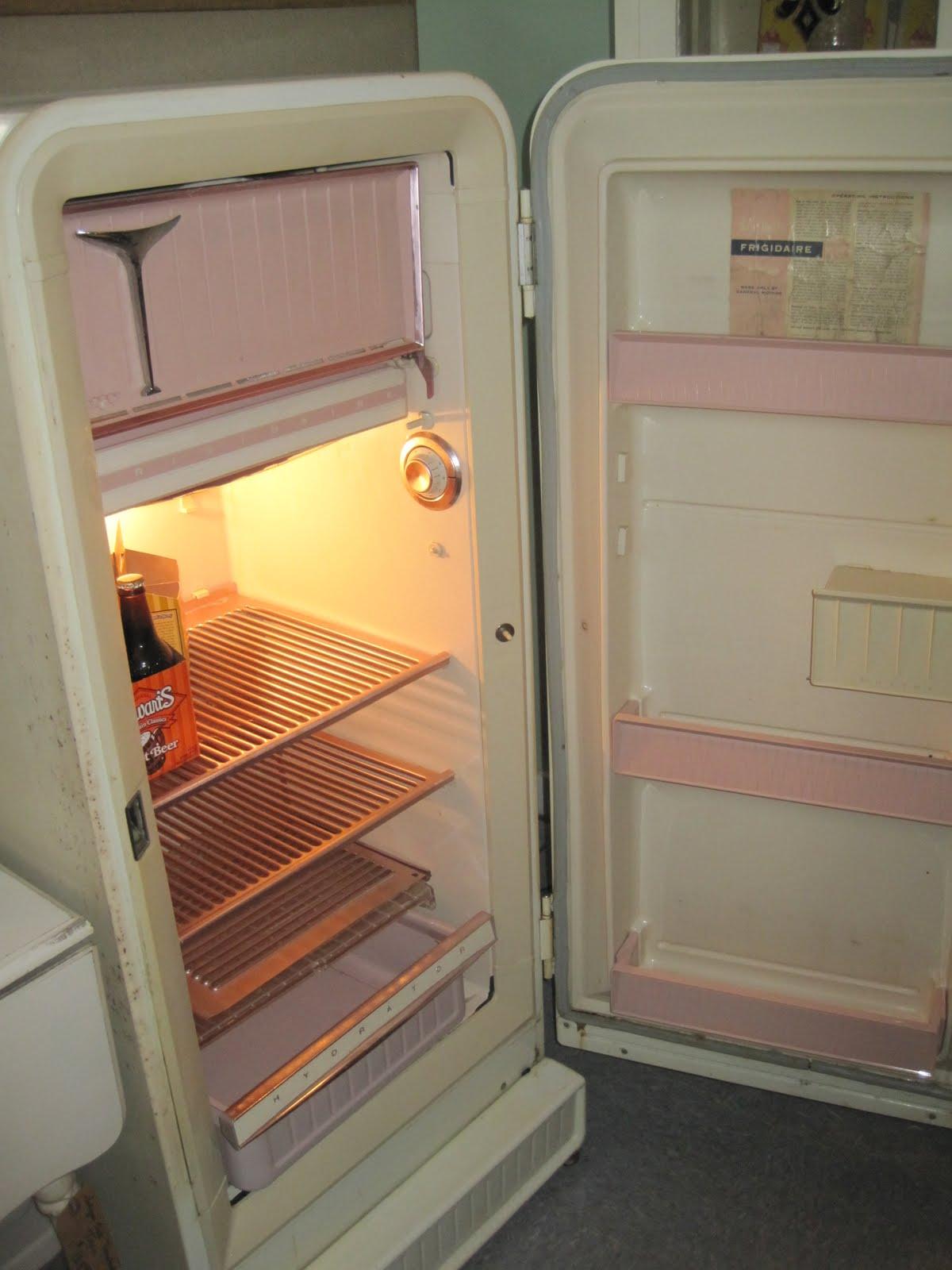 The Inside Of My Vintage Fridge Is Pink